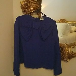 asos blue bow top us8